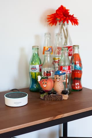 I have hooked up Alexa in the room! Use her to turn the porch lights on and off, adjust the temperature, or play music!