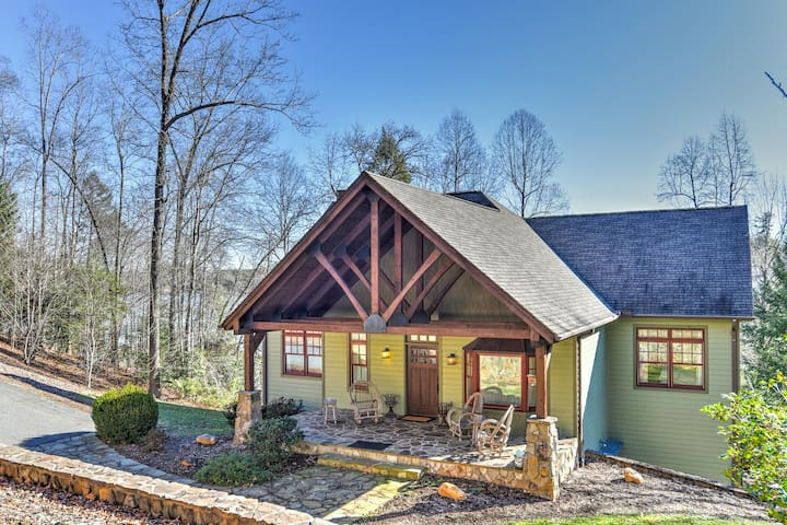 Lake Front Home Nestled in Mountains w/Private Dock, Indoor & Outdoor Fireplaces