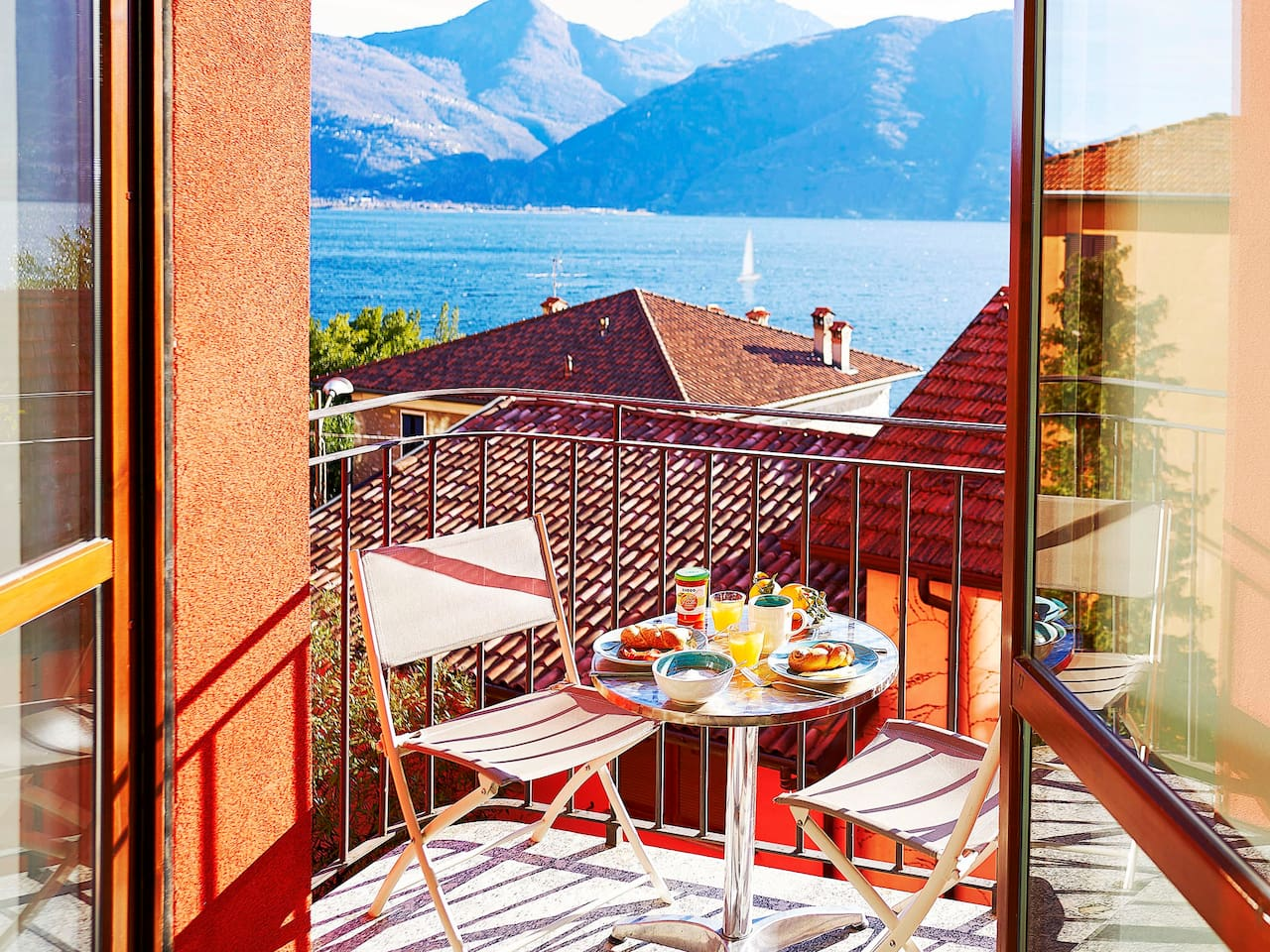 Breakfast on the balcony with a full lake view.