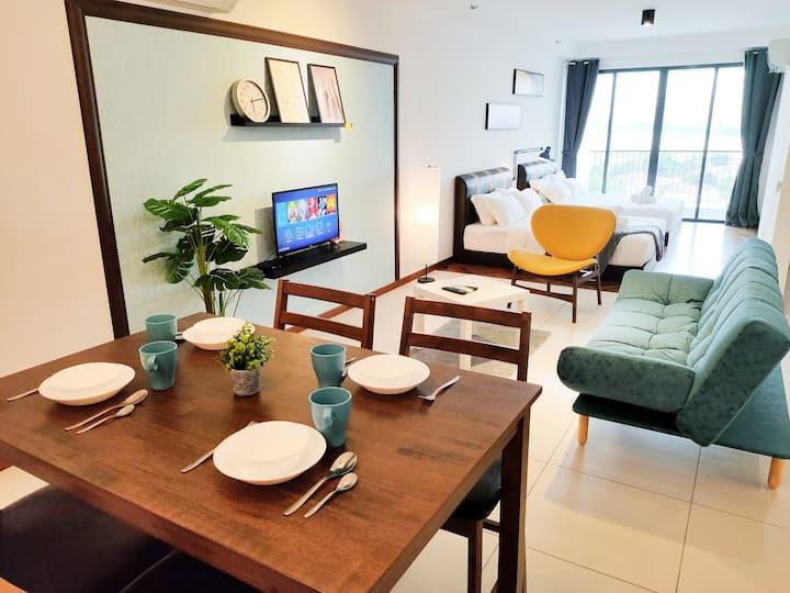Cozy Studio w 2 Queen Beds + Oceanside View 舒适海景套房