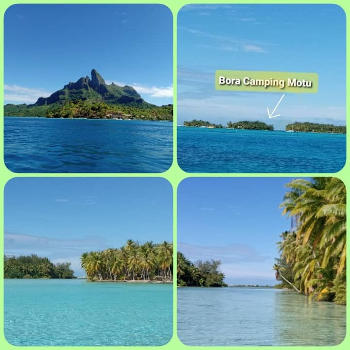 Camping Écologique sur un Motu privé à Bora Bora