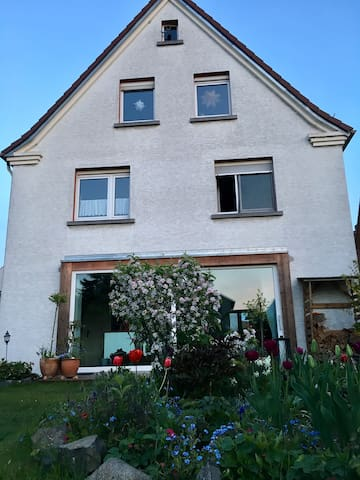 Das ist der Blick vom Garten zum Haus. In der Mitte links ist das Bad und unten die Küche.