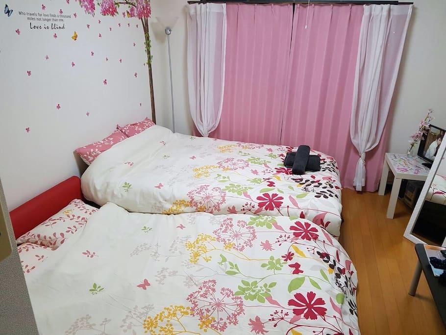 sakura room♡Dowble bed and Dowble sofa bed