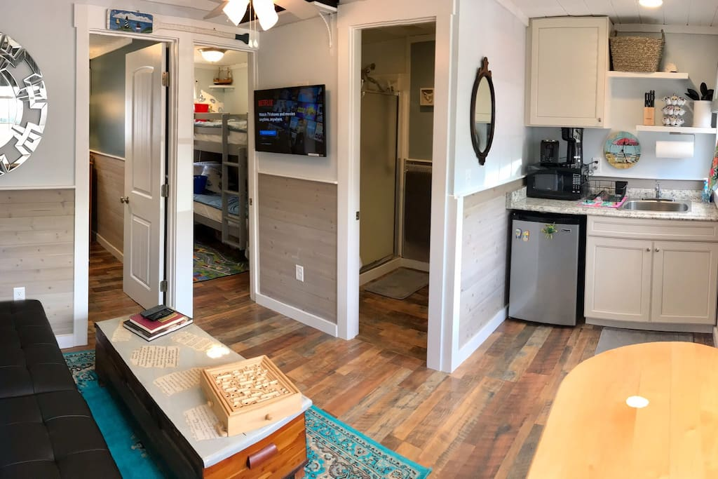 Condo overview. Gutted and totally renovated for 2018! Includes free WiFi and HD cable TV, with NetFlix, Hulu, etc available for your personal account use.