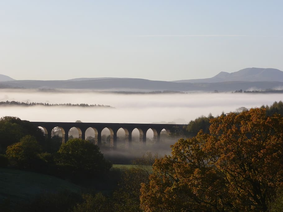 The view of the Cynghordy Viaduct and Black Mountain from the bedroom