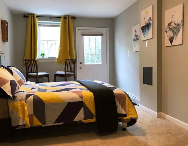 Main bedroom; queen bed and private entrance