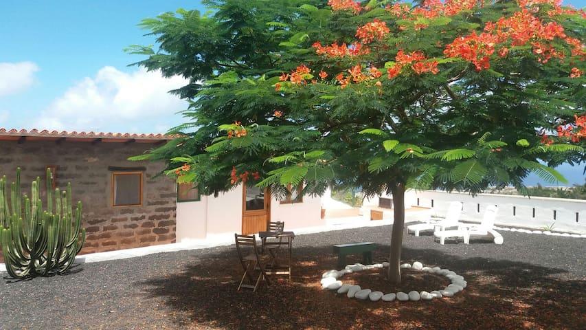 Acogedora cabaña rural con vistas
