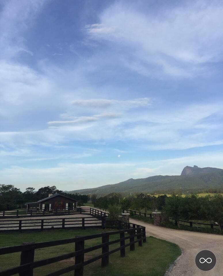 Horse arena and paddocks with views to Mt Warning