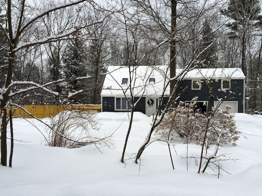 The Birch House exterior during the winter