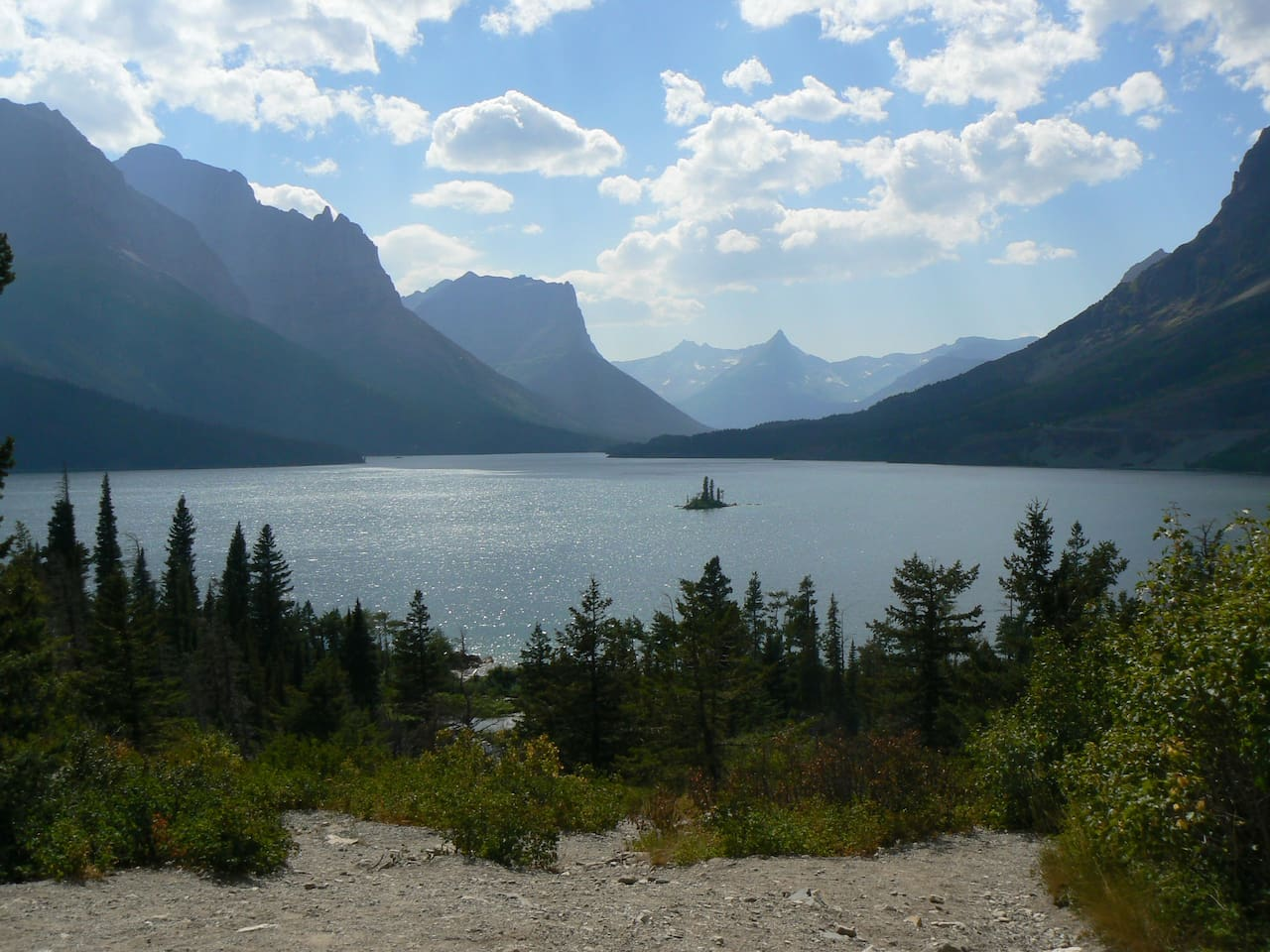Near St. Mary's Lake at Glacier National Park (this is not a view from our living room)
