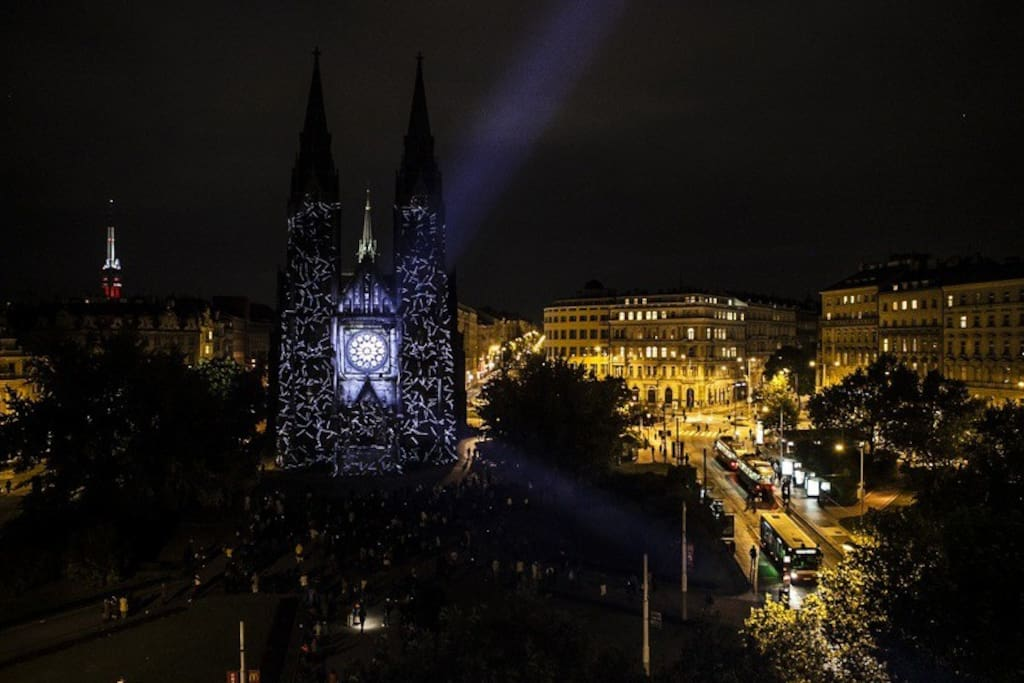 View from the window - Video mapping on St. Ludmila during Signal festival in October.
