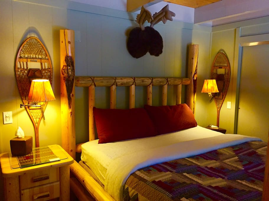 Sleep late cocooned in our amazingly, luxurious, four poster log bed