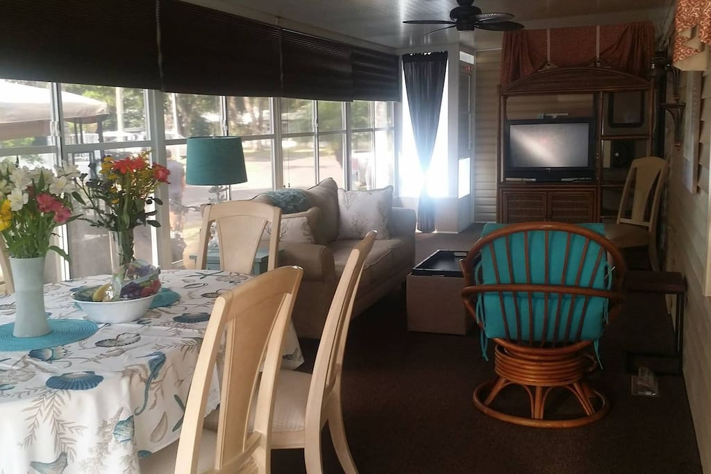 Raised Lanai with Dining for 6-10, another living area convertible to 2nd bedroom.