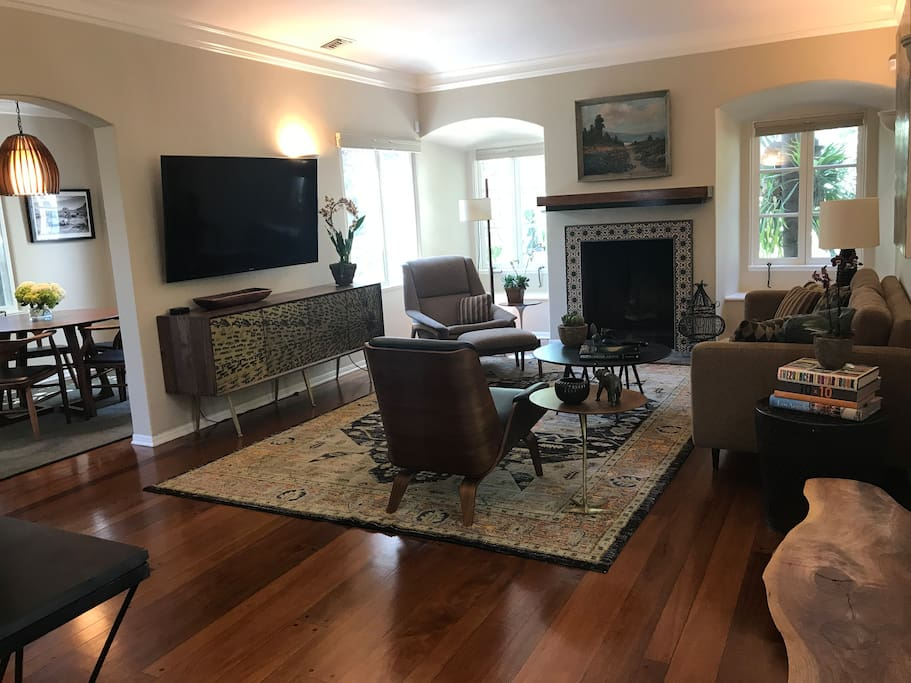 """Living Room with Gas Fireplace and 60"""" TV w/Roku"""