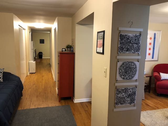 Hallway to bedroom, bathroom, and kitchen