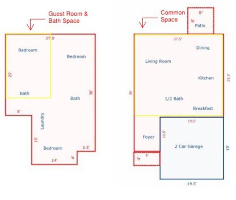 Floor plan - shared space on the first floor (outlined in yellow) Private space upstairs (outlined in yellow)