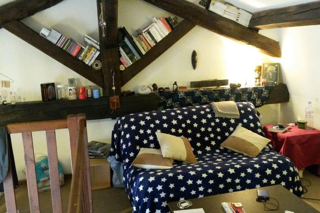 Grand studio cosy en mezzanine sous les toits, canapé lit (BZ)