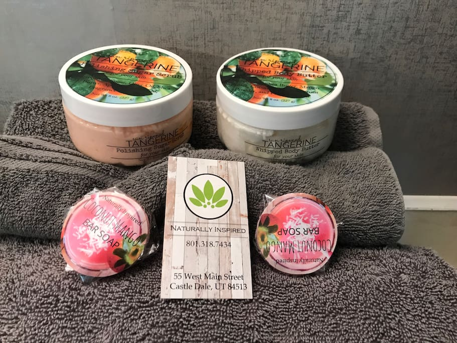 Products in the bathrooms are made locally by Naturally Inspired. Soap, body butter, and sugar scrub.
