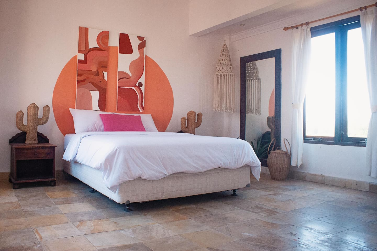 Your private room with queen size bed and rice fields view