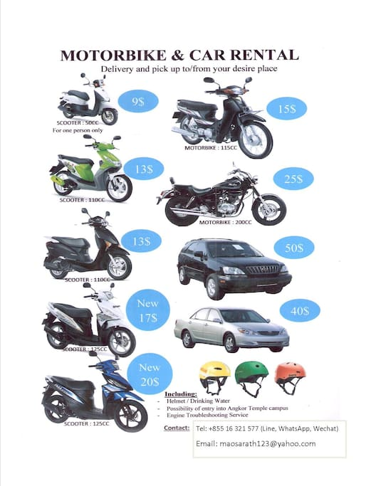 Personally contact : + 855 16 321 577 for free delivery to and pick up at your doorstep of your desired place.  Get 1$ refund for each day/person for 4 and more scooters rental /group.