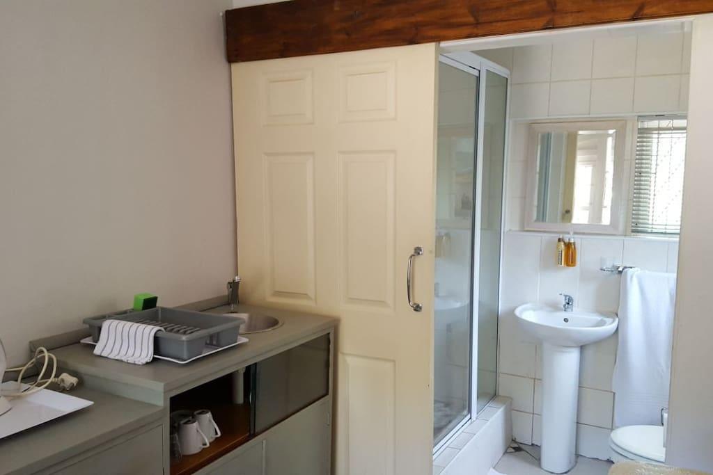 Kitchenette and bathroom