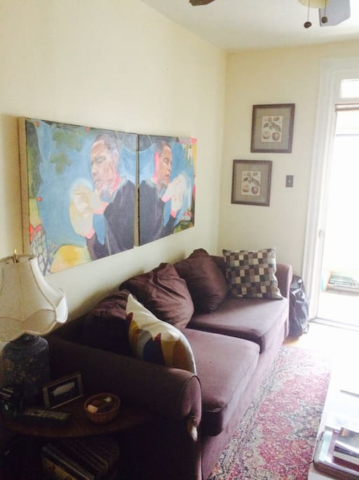 The living room - another angle. Art by Bronwen Moen