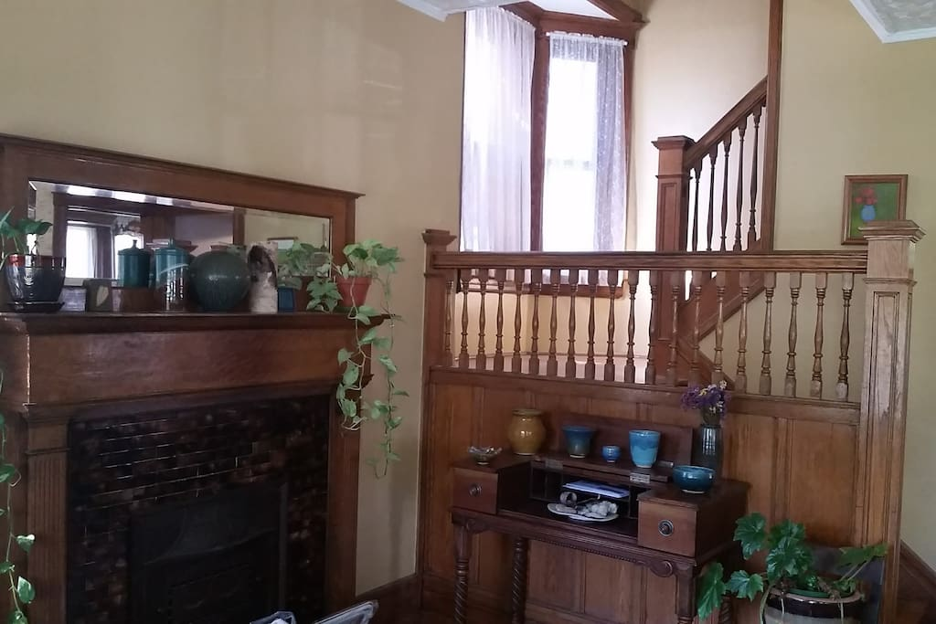 Fireplace and front entry