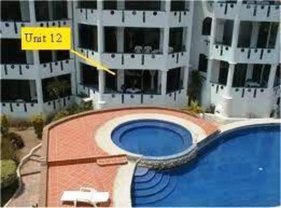 Condo overlooking pool