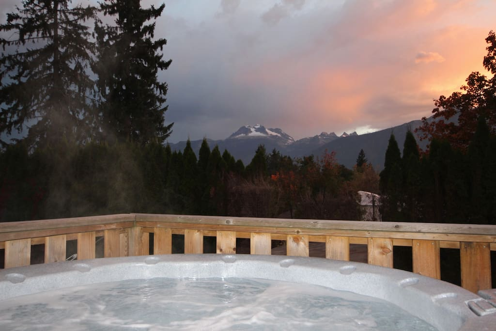 Soak and relax after a busy day on the mountain with stunning views of Mt. Begbie