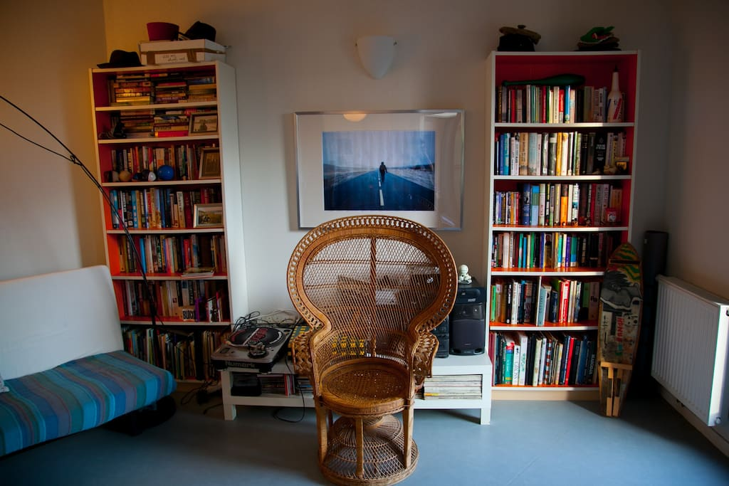 Living room; lots of books