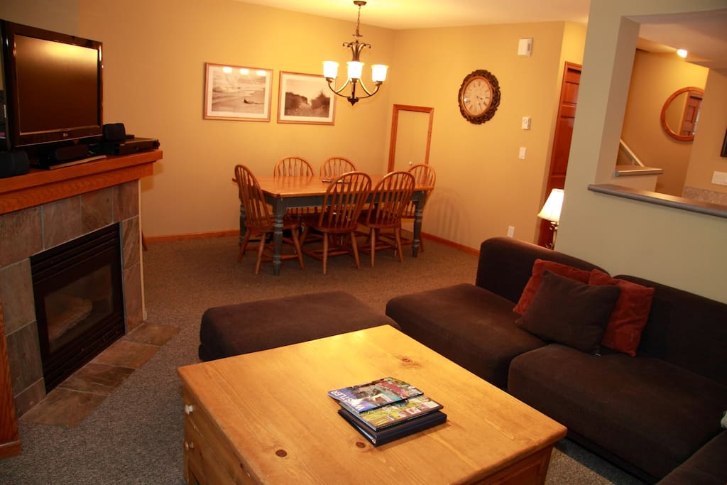 Relax in the spacious and open living area after a fun day exploring Whistler