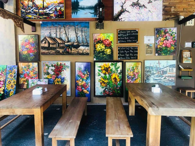 Our canteen with full of paintings