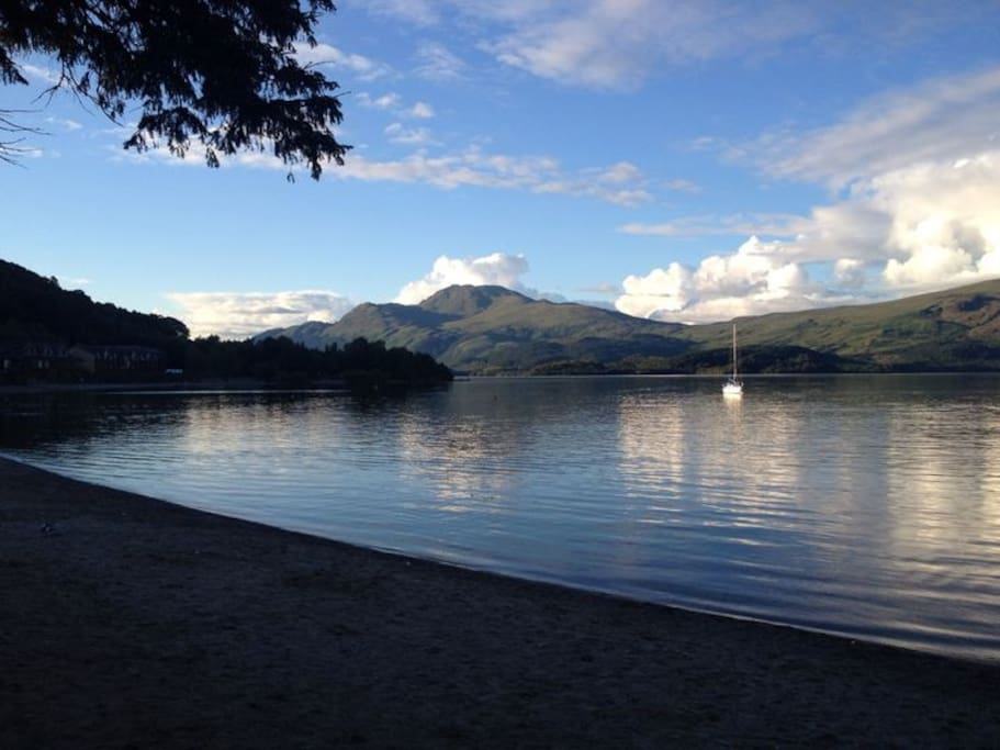 This is the beach at Luss, Loch Lomond, about 15 minutes away from the house