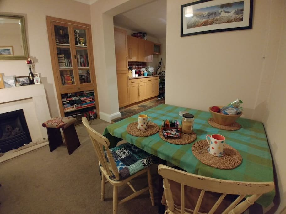 You are welcome to use the dining area, where tea/coffee are available for you :)