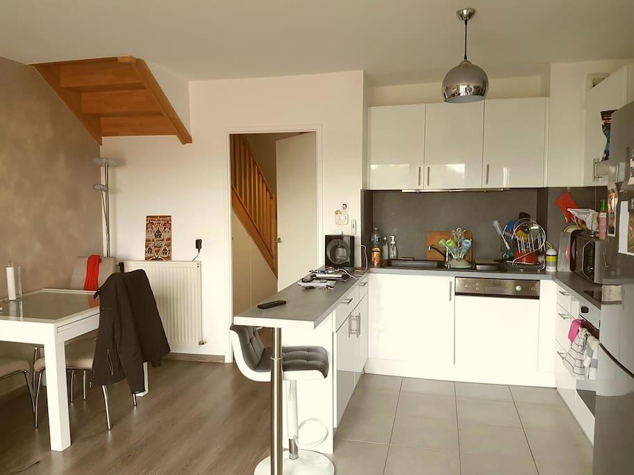 Cuisine équipée : plaque a induction , lave-vaisselle , micro-ondes , réfrigérateur , hotte aspirante