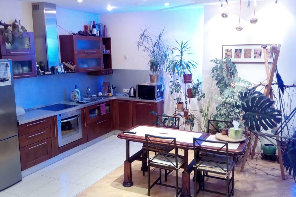 Столовая и кухня в комнате-студии. Вид от диванной зоны.