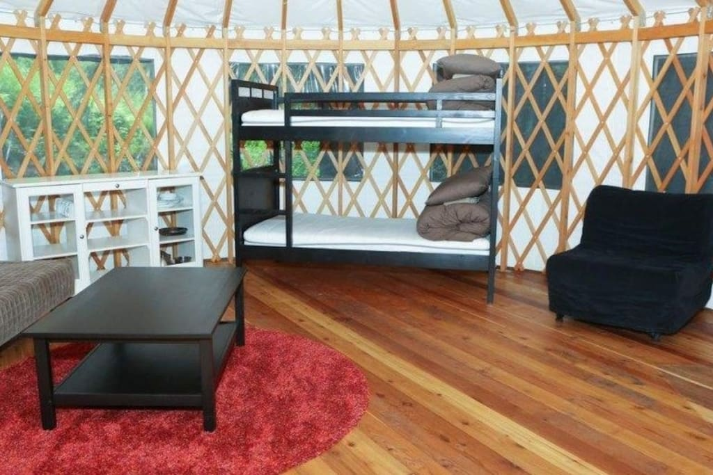 These Mongolian themed yurts have rustic charm