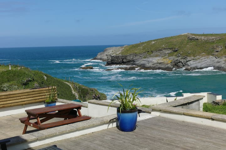 Surfside superb beach front home over Porth Beach
