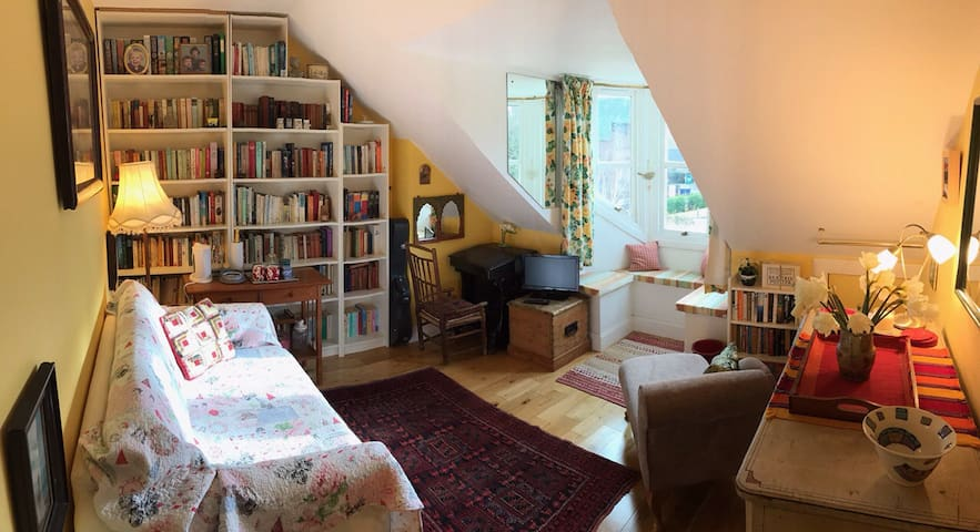 Sunny attic floor in family home