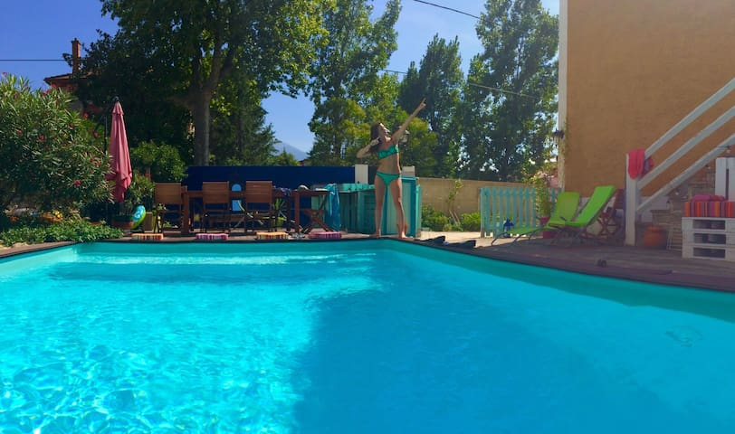 maison+appartement indépendant, piscine, wifi