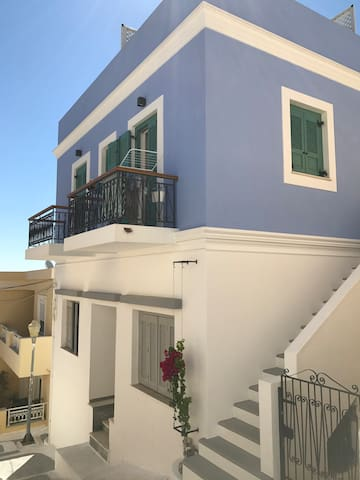 Traditional blue house in Spilia, Leros