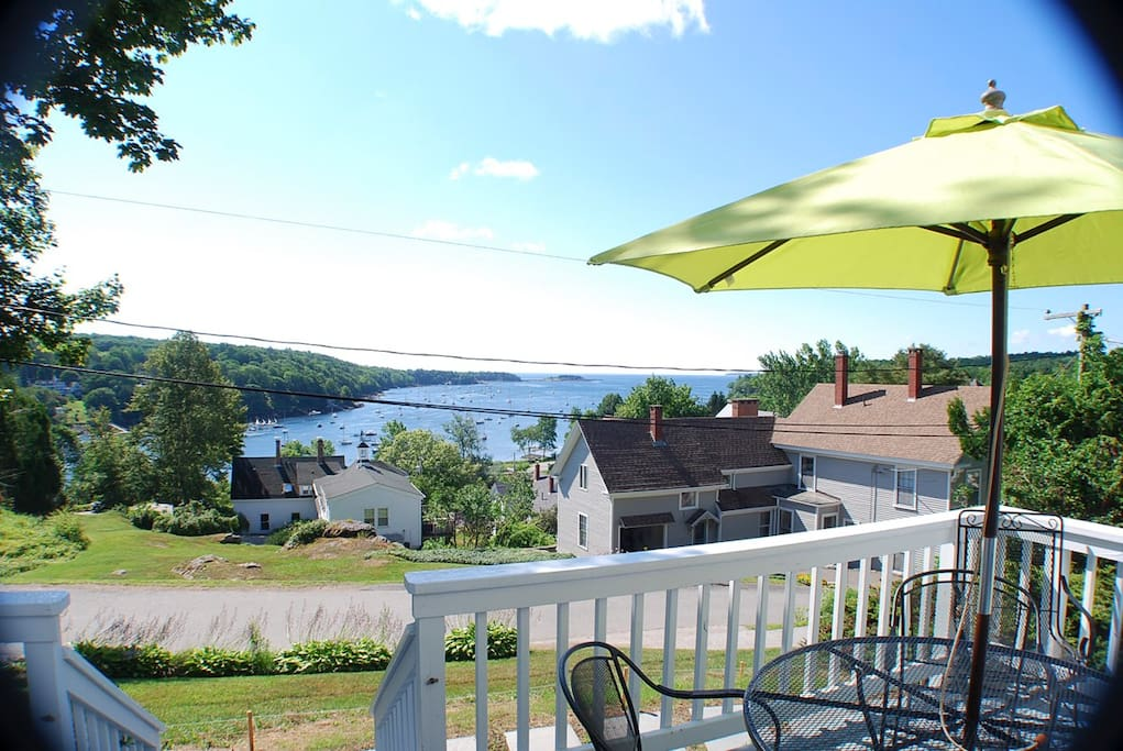 Deck and view of Rockport Harbor