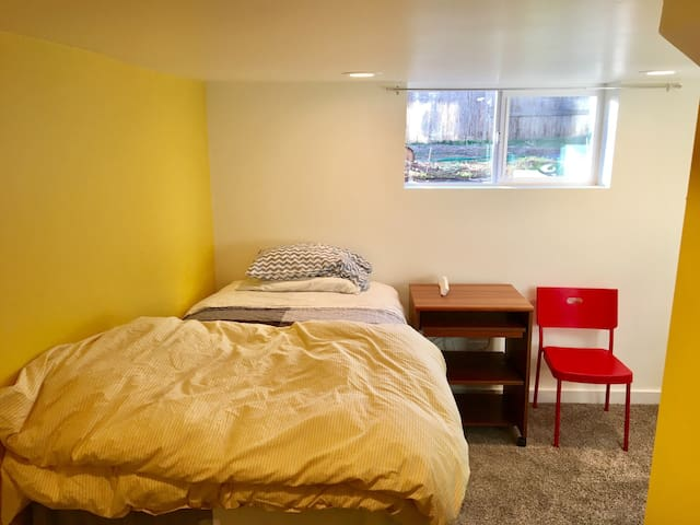 bright basement room by university