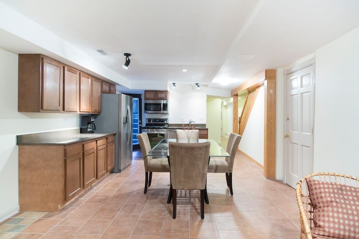 Spacious dining area with new kitchen