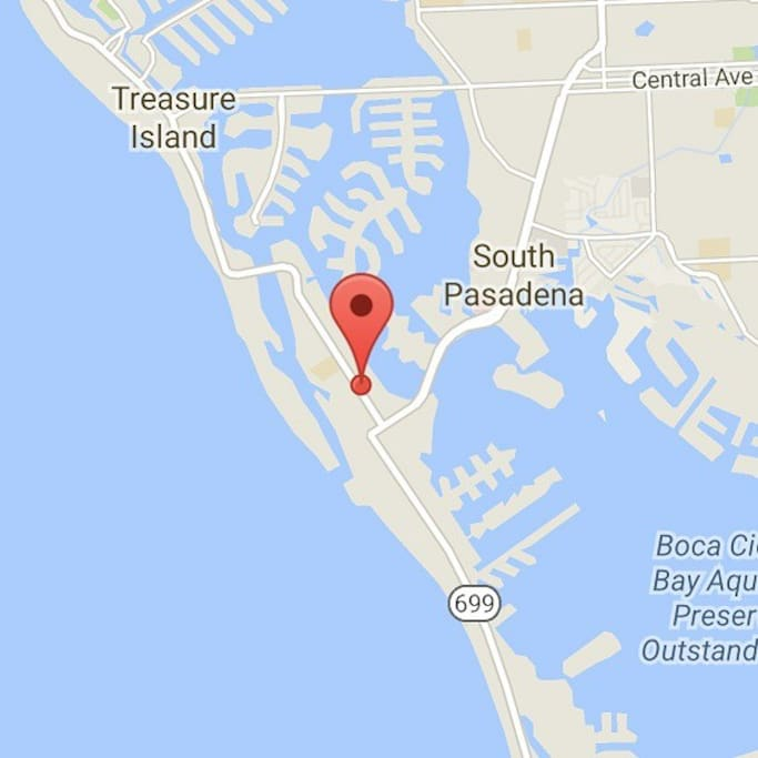 Our location on St Pete Beach, surrounded by water