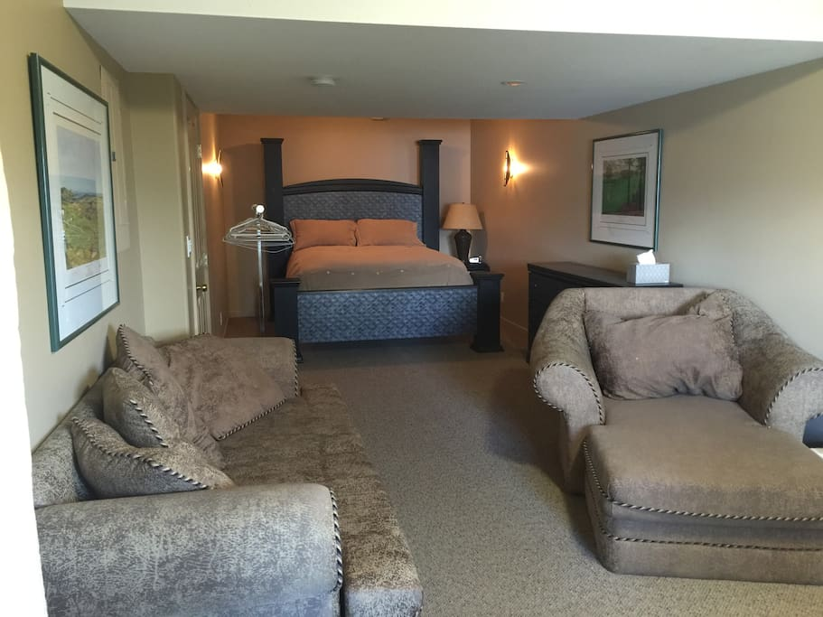 The bedroom and lounge area with seating area and flat screen TV .