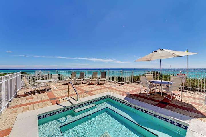 Enjoy a luxuriating soak in the hot tub overlooking the ocean.