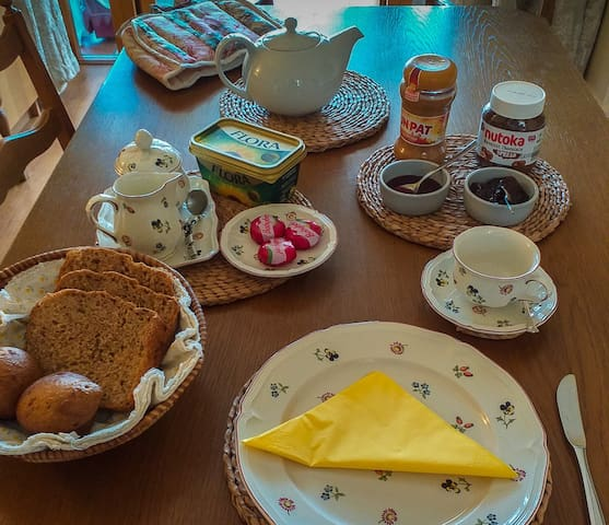 We offer a scrumptious breakfast with tea or coffee...