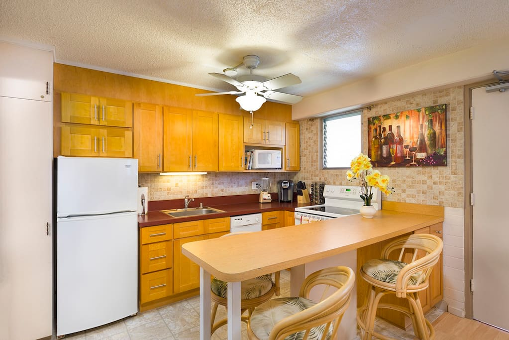 Full kitchen with dish ware, utensils, pots/pans, blender & Keurig coffee machine
