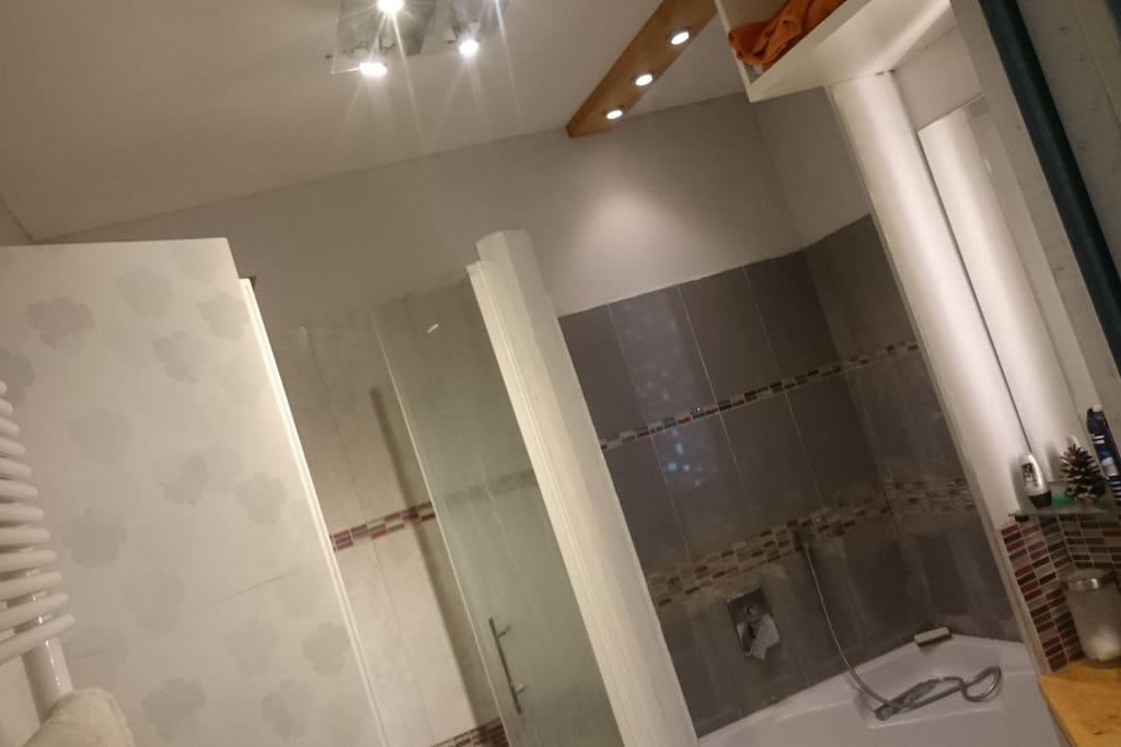 Salle de bain avec douche à l'italienne et baignoire